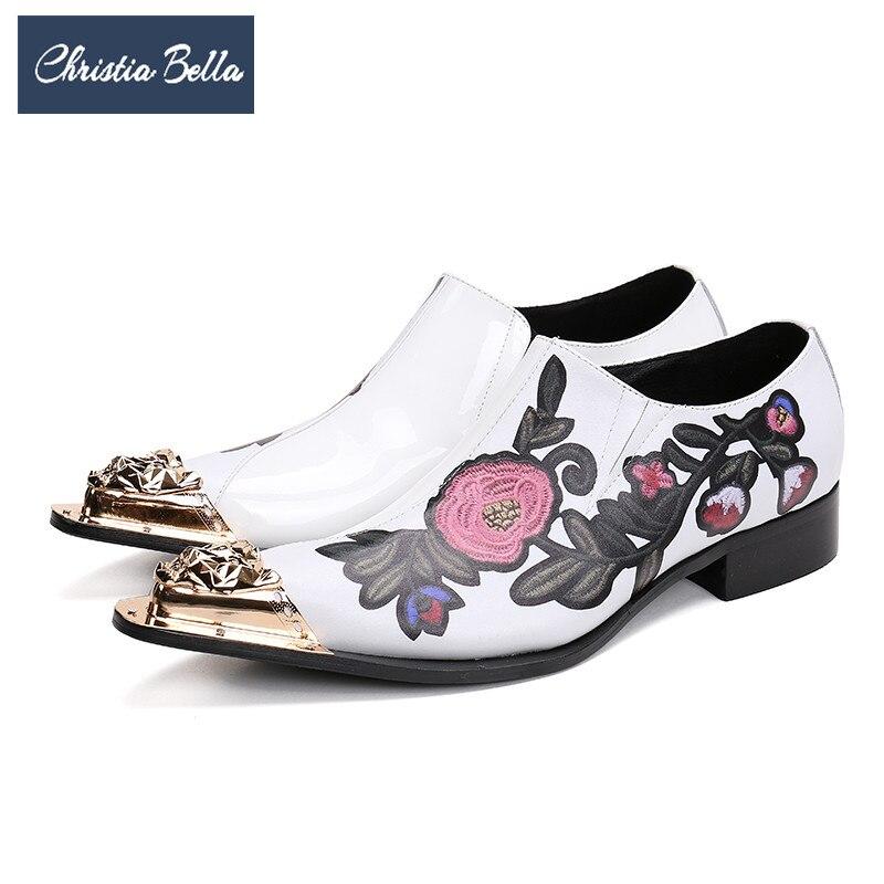 D'affaires blanc Richelieu Bella Noir Mode Style De Véritable En Broderie Fleurs Britannique Formelle Hommes Christia Cuir Partie Robe Chaussures UqdaA6w6x