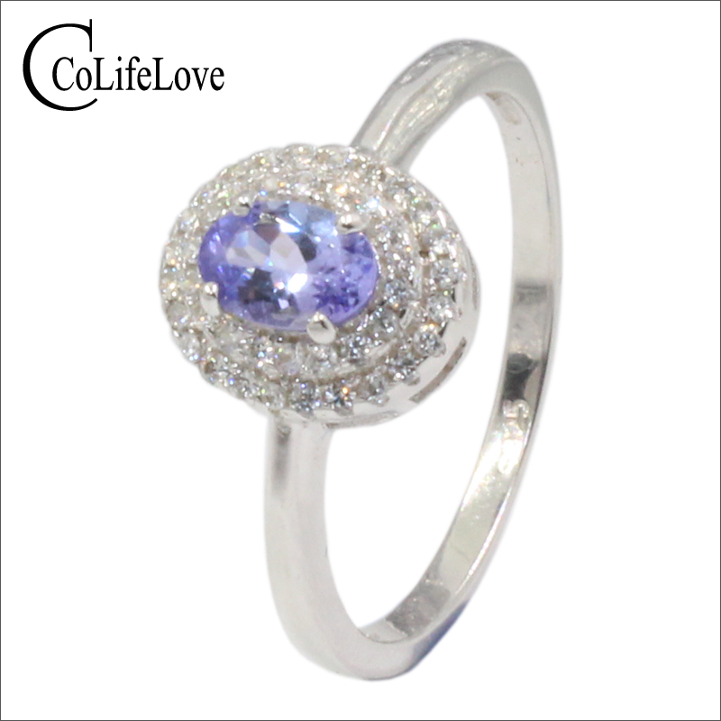 0.4 ct VS grade natural Tanzanite wedding ring for woman solid 925 sterling silver tanzanite ring romantic gift for girlfriend