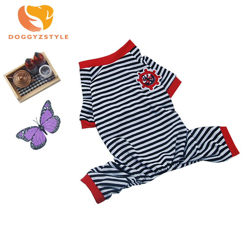 2017 Dog Striped Four-Legged Pajamas Cotton Jumpsuit All Seasons Pet Clothes Size XS S M L XL DOGGYZSTYLE