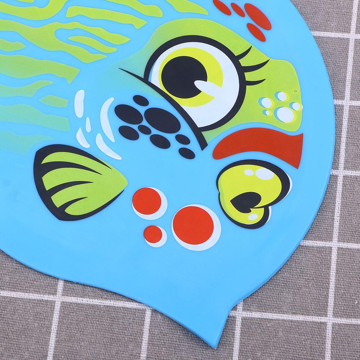 Силикон унисекс Плавательная шапочка шляпа Рыба мультфильм милые водонепроницаемые животные Плавающие кепки для детей мальчиков и девочек