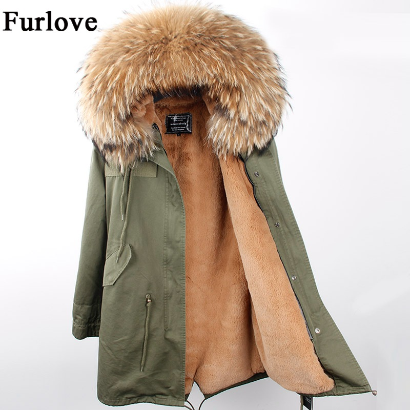 Womens Winter Jacket Women Coat Jackets Real Raccoon Fur Collar Coats Camouflage Black Thick Long Parka Fashion Casual Parkas 2017 winter new clothes to overcome the coat of women in the long reed rabbit hair fur fur coat fox raccoon fur collar