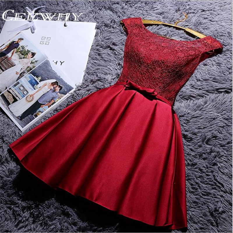 CEEWHY A-Line Satin Cocktail Dress O-Neck Sleeveless Burgundy Short Evening Party Dress Knee-Length Prom Dress Vestido De Noiva