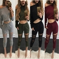 4 Colors Tracksuit For Women Crop Top And Pants Suit Casual Active Two Piece Set Loose Moleton Feminino Cut Out Hole Autumn