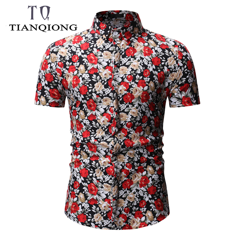 2019 Mens Hawaiian Shirt Male Casual Camisa Masculina Printed Beach Shirts Short Sleeve Summer Men Clothes