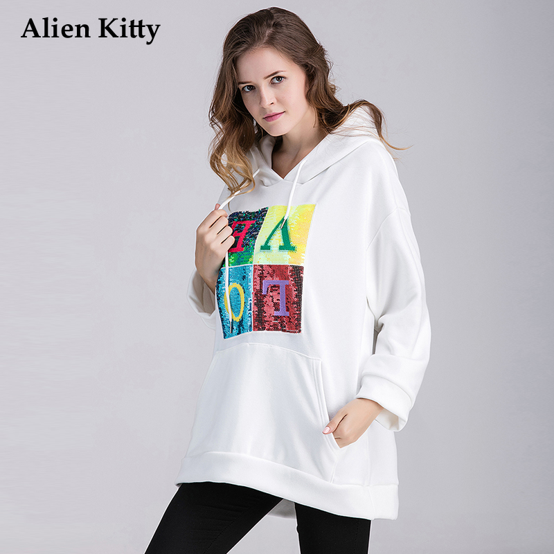 Alien Kitty Casual White Printing Thick Womens Sweatshirts Cotton 2017 Autumn Winter Long Sleeve Woman Hoodies Plus Cashmere