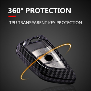 Image 3 - Carbon fiber+PC Car Key Case Cover for Bmw New X1 X5 X6 2 5 7 Series 2014 2016 360° Protection Waterproof Keychain Accessories