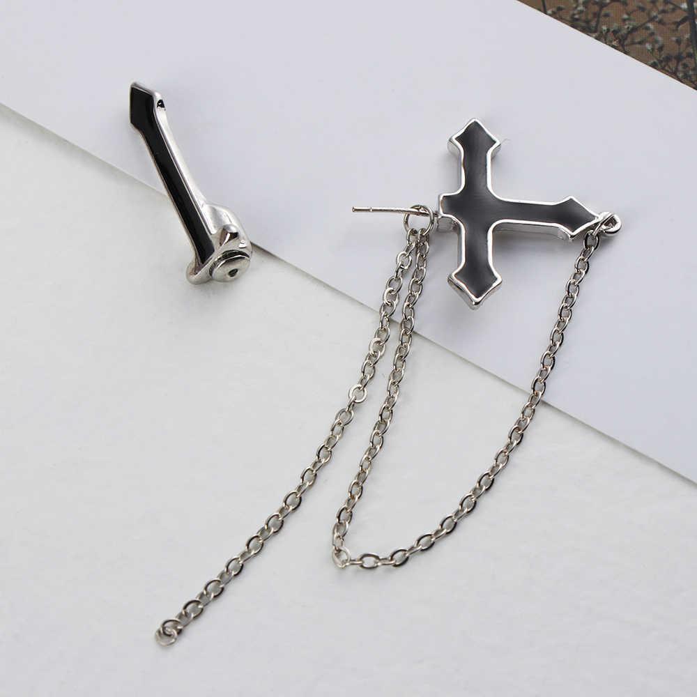 Moda w stylu europejskim długi naszyjnik w stylu vintage krzyż zamek spadek kolczyki dla mężczyzn i kobiet Party biżuteria punkowa prezent Brincos