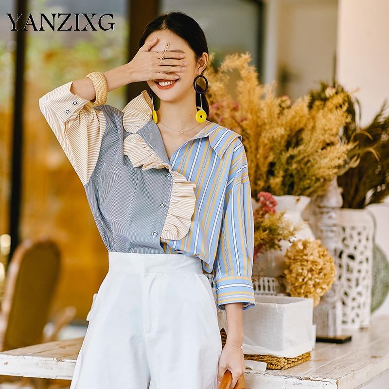 2019 été nouveau modèle chemise pour femmes mode nouveau tempérament rayure Split Joint volants contraste couleur Blouse hauts R182