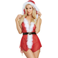Sex Underwear 2017 Christmas Lingerie Sexy Hot Erotic Adult Deep V Perspective Mesh Dress+Thong Red Costume HC035