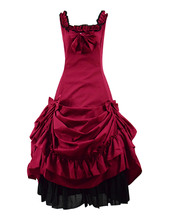 Sweet Lolita Dress Wine Red Women JSK Bow Party Masquerade Sleeveless Cosplay Costume