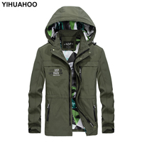YIHUAHOO Jacket Men Spring Hooded Overcoats Male Brand Clothing Thin Zipper Pockets Summer Casual Mens Jacket And Coats DML 862