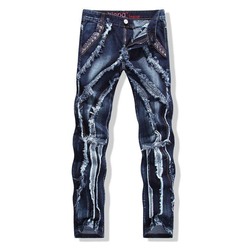 Créateur de mode bleu jeans détruits hommes patchwork discothèque streetwear hip hop rock punk denim pantalon slim pantalon droit
