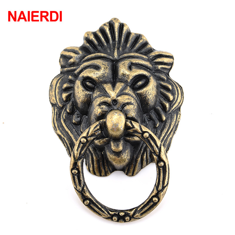 NAIERDI 69*44mm Antique Furniture Handle Vintage Lion Head Cabinet Pulls Handles Furniture Door Cabinet Drawer Pull Handle Knob bowarepro zinc alloy handle drawer pull knob for butterfly handle furniture kitchen cabinet vintage pull handle antique 96mm 1pc