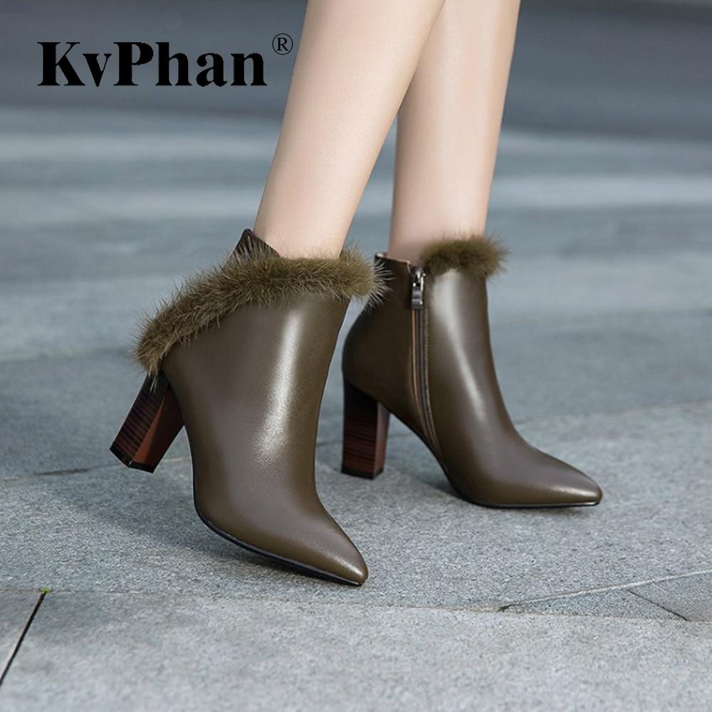 KvPhan Cow Leather Real Fur Khaki Fashion Women Shoes Size33-43 Black Side Zip Plush Warm Winter Lady's Boots Square Heels Boots цена
