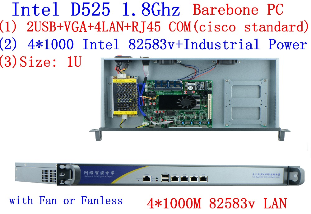 1U брандмауэр маршрутизатор сети сервера Atom D525 dual core 1,8 GHz 4 LAN 4 * Intel 82538 V 1000 M Поддержка pfSense, WayOS, IPFire и т. д.
