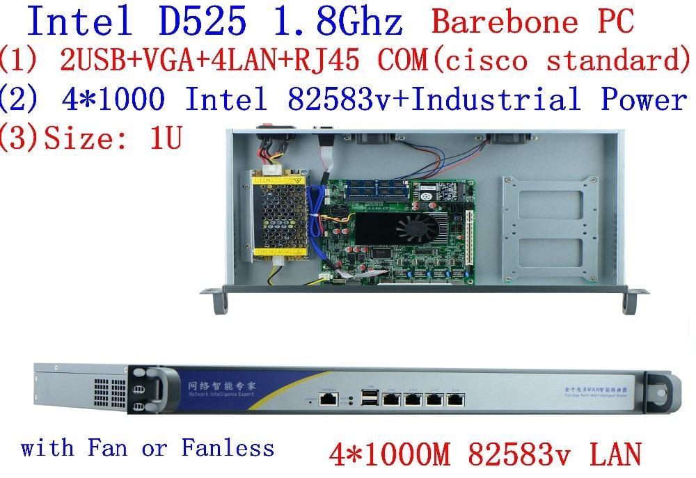 1U Firewall Router Network Server Atom D525 Dual Core 1.8GHz  4 LAN 4*Intel 82538V 1000M Support PfSense, WayOS, IPFire, Etc.