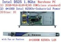 Atom D525 Firewall Server Dual Core 1 8GHz 1U 4 LAN 4 Intel 82538V 1000M Support