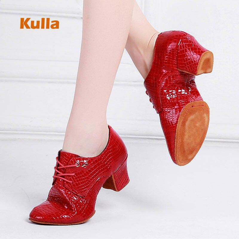 Nouveauté chaussures de danse Jazz moderne pour femmes en cuir véritable noir rouge chaussures d'aérobic pour femmes chaussures de bal à semelle souple