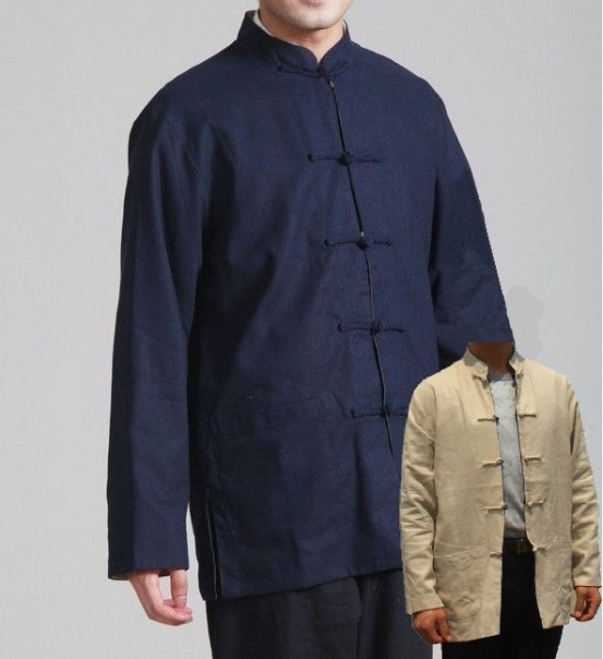 262c151791e Blue Beige Two-Face Male Linen Coat Chinese Vintage Style Top Mandarin  Collar Jacket Button Costume S M L XL XXL XXXL 2973-C