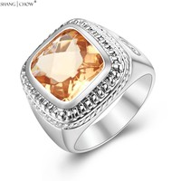 925 Sterling Silver Ring 2016 Summer Jewelry With Hugh Morganite Stone For Men Weekend Party Lover