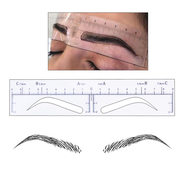50 pieces High Arch Microblading Eyebrow Stencils Stickers Permanent Makeup Supplies Eyebrow Mold Template Drawing Guide