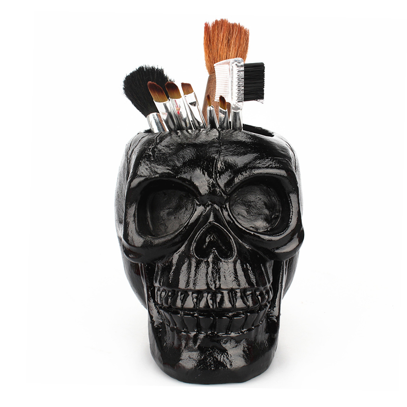 Black Skull Office Storage Pen Holder Horror Funny Skull Makeup Pen Storage Tube Halloween Hot Fashion Travel Accessories AII-01