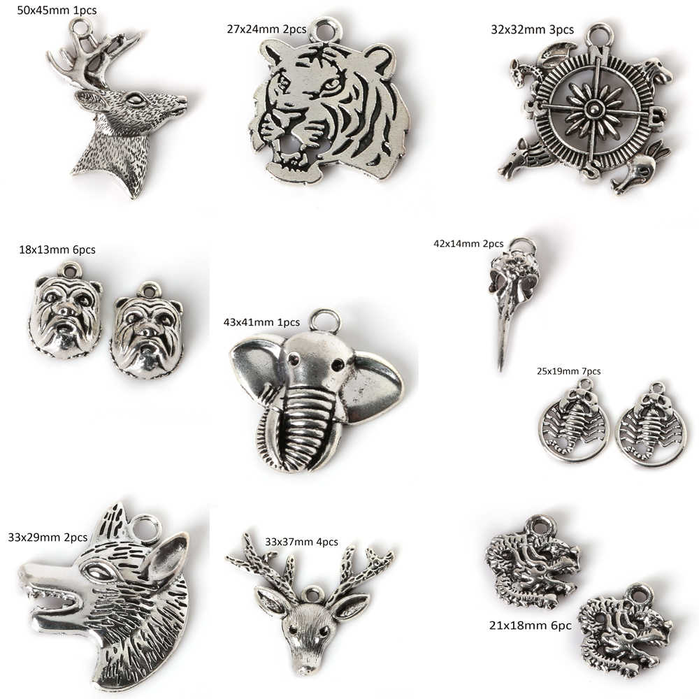 Sweet Animals Antique Silver mini Charms Deer Rudder Tiger Charms Pendant Jewelry Making DIY Metal Choker Necklace Crafts