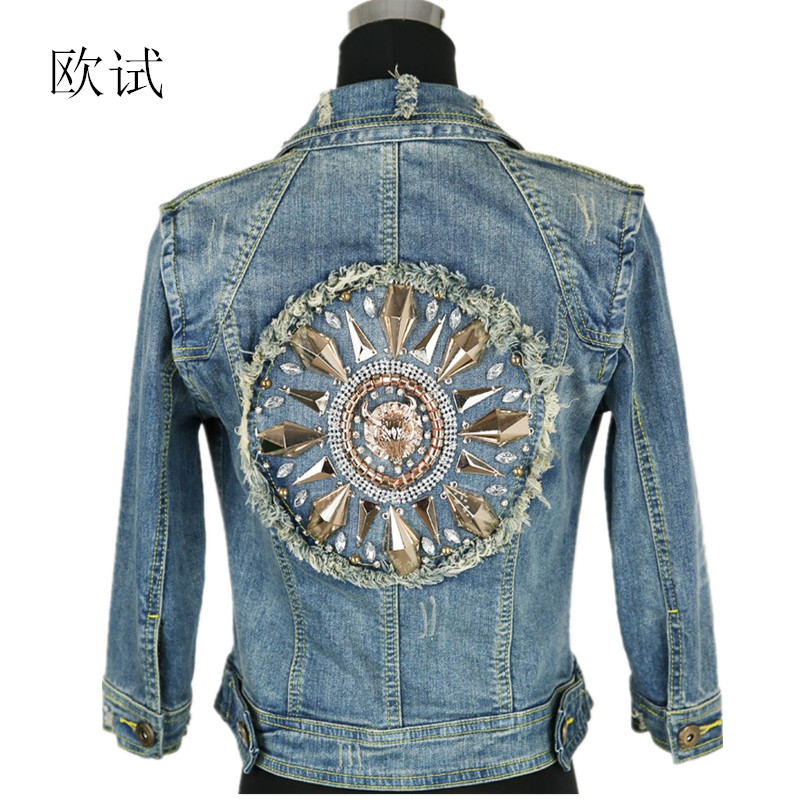 2017 New Women Short Cowboy Coats Leisure Outwear Slim Diamonds Half sleeve Women's Denim Blue Jacket Coat Holes Jean Jackets