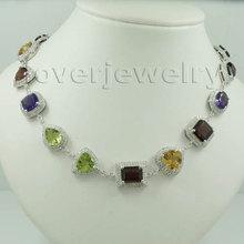 Винтажные Ювелирные изделия! Твердые 14kt Белое золото ожерелья для женщин, натуральный алмаз драгоценный камень ожерелья