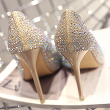 2018 spring and autumn new wedding shoes female rhinestone pointed high heels stiletto gold princess wedding bride silver single