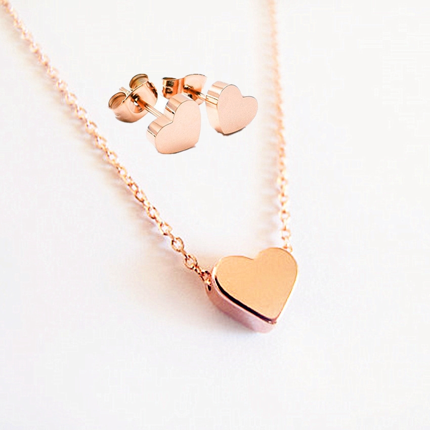 GORGEOUS TALL Heart Necklace Earrings Set for Woman Stainless Steel Pendant Gold Color Party Jewelry BFF Best Friend Wedding
