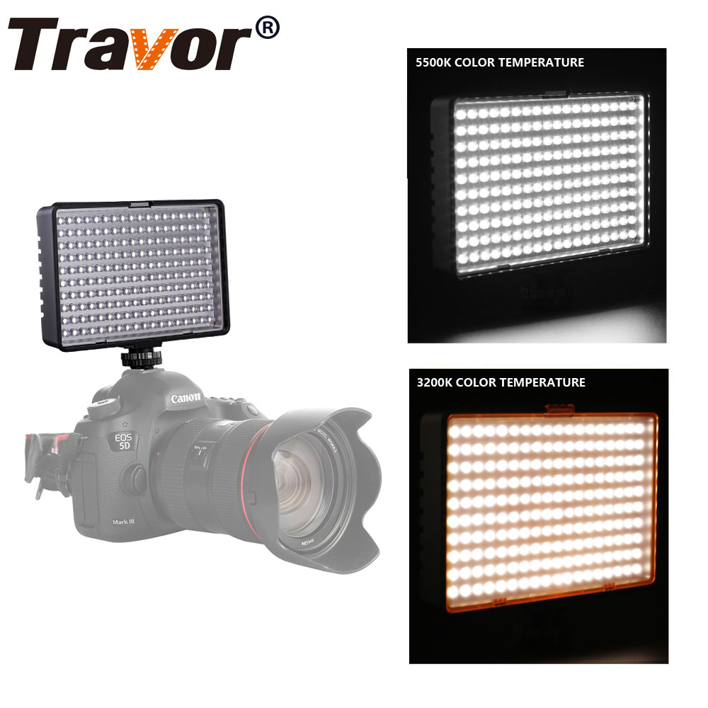 Travor 180pcs Led Video Light with 2 Color filters 3200K 5500K for Most Model of Canon