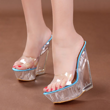 Dwayne Sexy Summer Fashion High Heels Sandals Slippers Mules Transparent Crystal Platform Wedges Shoes 15CM Jelly Sandals