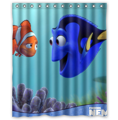 Custom Finding Nemo Cartoon Printed Shower Curtain 60 X 72 Inches High Quality Waterproof Bath