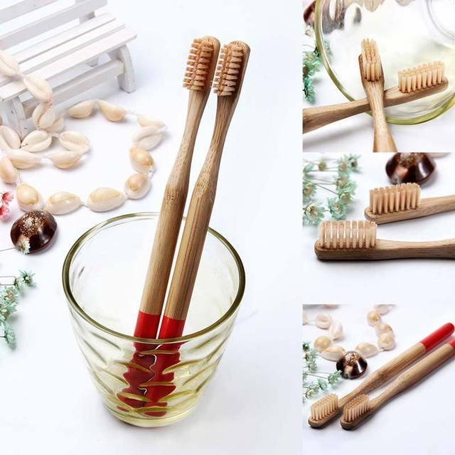Dropship 4 piezas/2 piezas/1 unid Multi-color Natural de bambú cepillo de dientes redondo con mango de bambú suave cerdas de respetuoso del medio ambiente cepillo de dientes de adulto