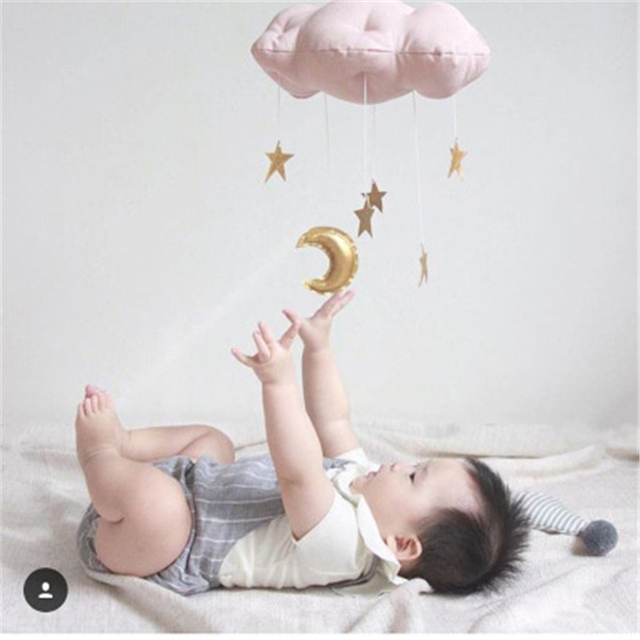 Pink Cloud Nursery Decoration Baby Girls Boys Room Decor Tete Peluche Mural Cute Star And Moon Bed Mobile Hanging Decorations