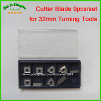 9pcs Set Blade For 32mm Hard Alloy Turning Tool CNC Lathe Tool Kits Cutter Durable Cutting