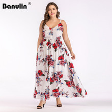 Banulin Women Summer Plus Size 5XL Cold Shoulder Floral Overlap Dress Spaghetti Strap Sleeveless Floral Print Beach Dress Robe
