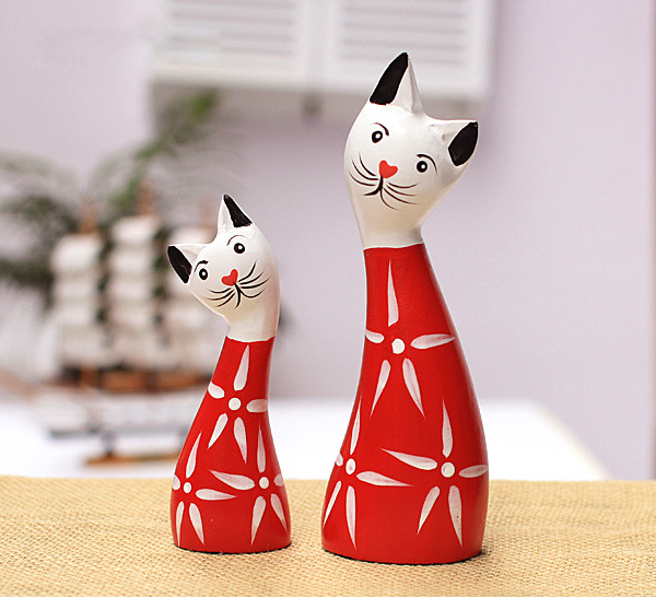 Home Decoration And Furnishing Articles Couple Characters: Two Piece Nordic Style Red Rich Cat Set Wood Carving Craft