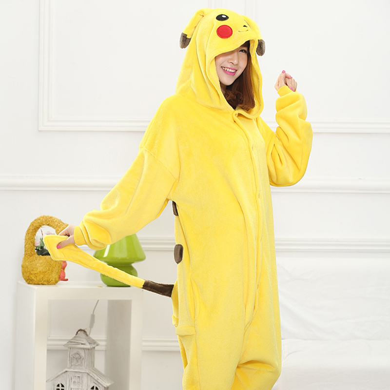 Adult Anime Cartoon Yellow Kigurumi Onesies Costume For Women Animal Blue Stitch Onepieces Flannel Sleepwear Home Clothes Girl