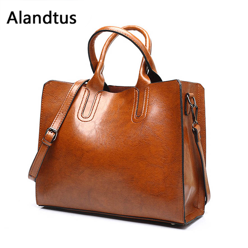 Alandtus Handbags For Women Soft Leather Totes Bags Big Shoulder Bag Vintage Women Crossbody Bags Bolsa Feminina Sac A Main torebka vintage