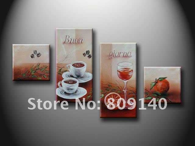 Free shipping kitchen dining room oil painting canvas for Dining room wall art canvas