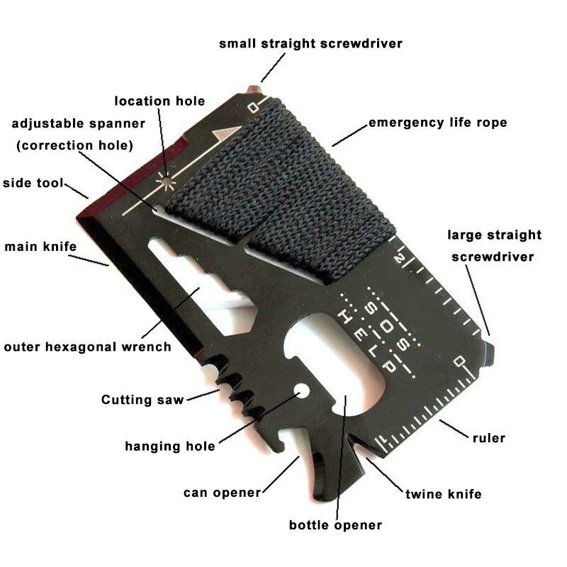 EDC tarjeta de crédito multifuncional bolsillo cuchillo de caza deportes al aire libre Camping senderismo SOS supervivencia rescate herramientas de emergencia MJ