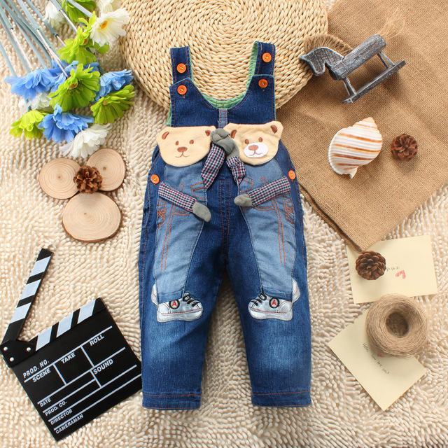 Novo 2016 primavera outono calças crianças macacão de bebê boys & girls denim jeans calças jeans calças infantis roupas para 1-3 T