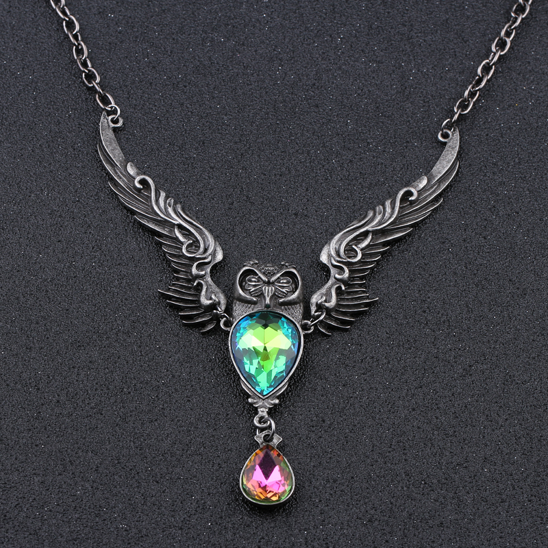 Water Drop Animal Owl Link Chain Necklace Crystal Choker Pendant Necklace Women Vintage Jewelry Decoration Wing Big Necklace vintage rhinestone hollow out water drop pendant necklace for women