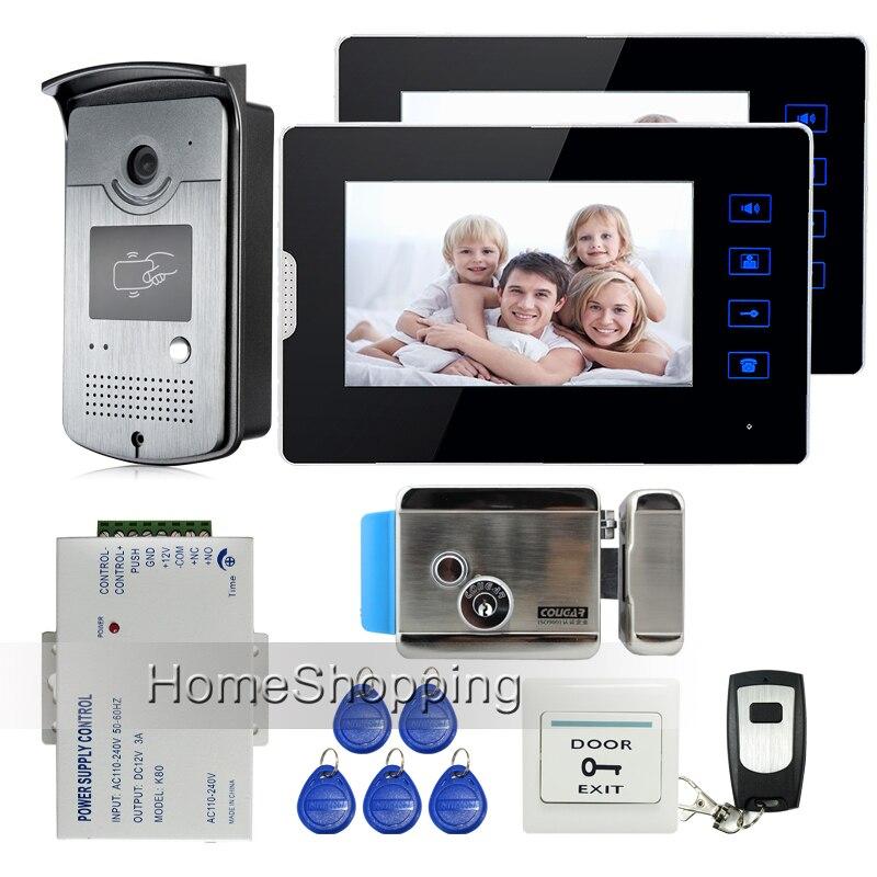 New 7 Touch Screen Video Door Phone Intercom Kit + 1 RFID Access Door Camera + 2 Monitor + Electric Control Lock  Free Shipping