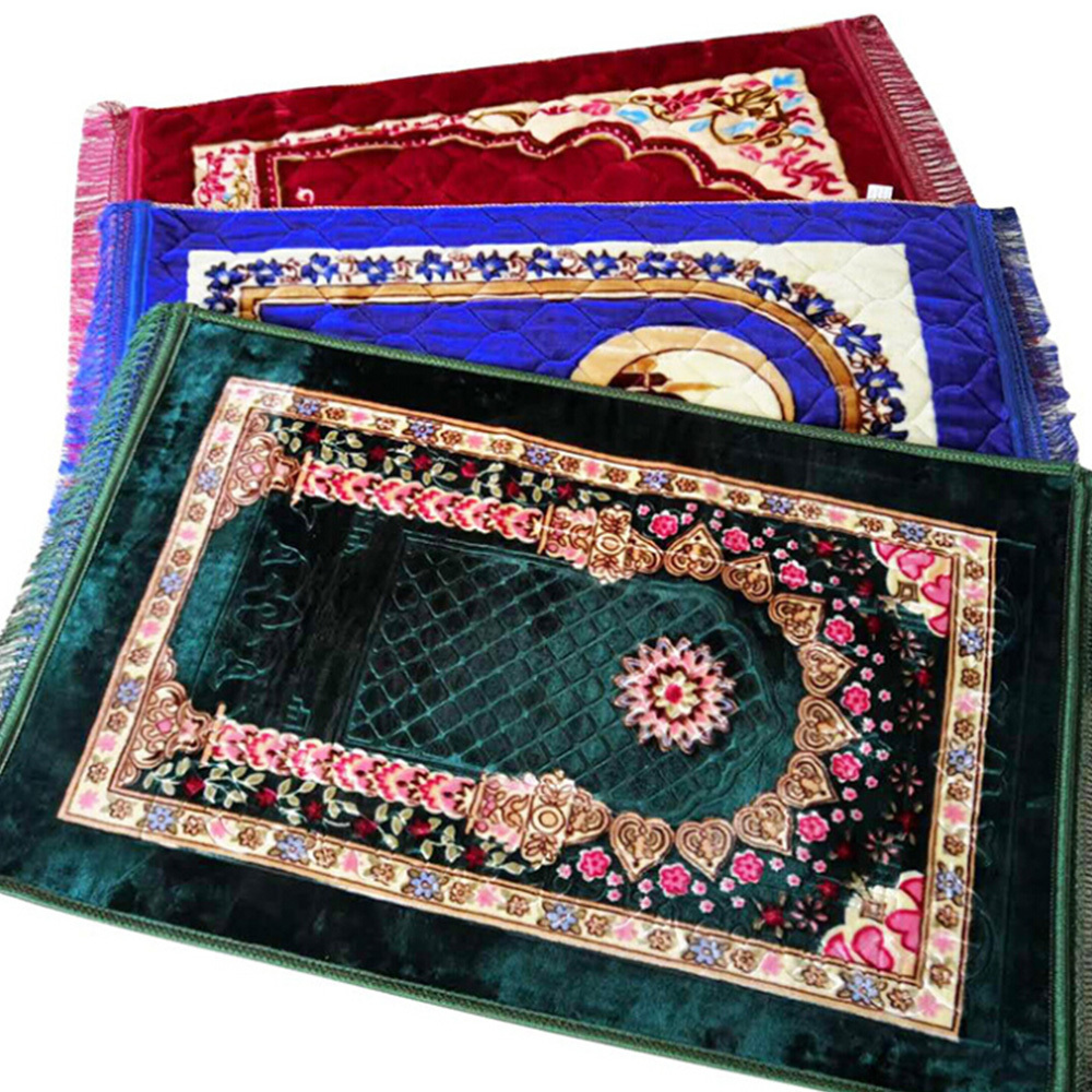 Islamic Muslim Prayer Mat Nordic Carpets Soft Fiber Cotton Filling Prayer Rug  Carpet Portable Praying Blanket  80*120cm