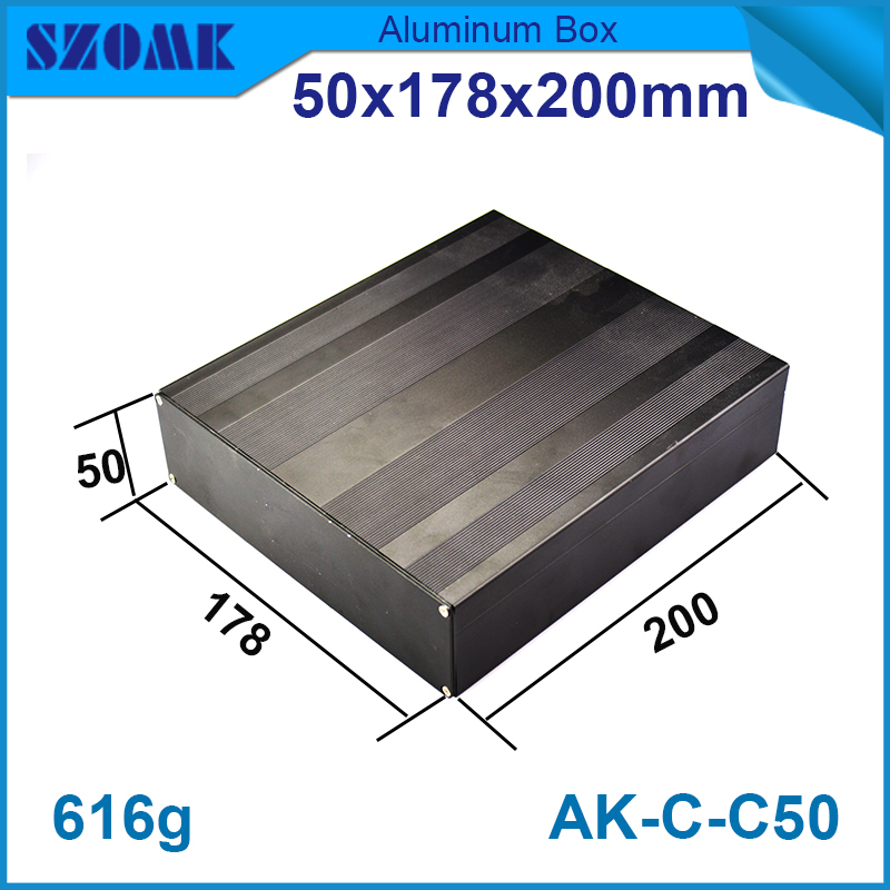 1piece aluminium beautiful housing enclosure 50(H)x178(W)x200(L) mm wholesale aluminum cabinet fit pcb size 45x173mm 1 piece free shipping wire drawing black color 45 h x152 w x200 l mm aluminium junction box manufactures in china