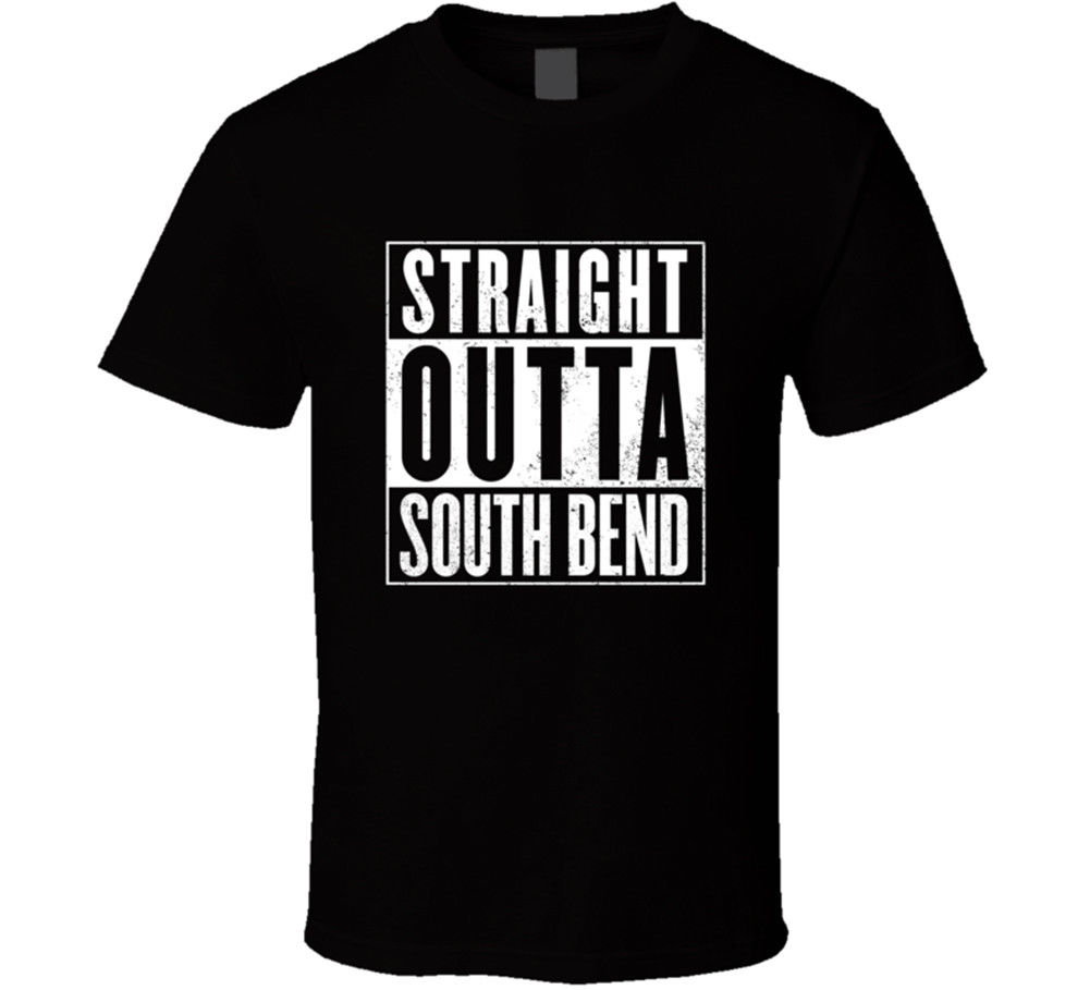 Straight Outta South Bend Indiana T Shirt Compton Parody Movie Gift 3D Men Hot Cheap Short Sleeve Male T-shirt image