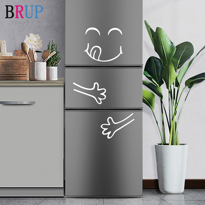 White and Black Smile Face Wall Sticker Happy Delicious Face Fridge Stickers Yummy for Furniture Decoration Art Poster DIY Vinyl